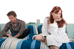 Couple, bedroom depression Royalty Free Stock Photos