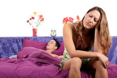 Couple, bedroom depression Royalty Free Stock Photography