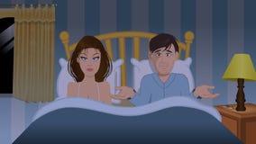 Couple bedroom frustration. Cartoon illustration of a couple bedroom frustration Royalty Free Stock Image