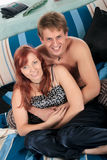 Couple, bedroom grooming Stock Photo