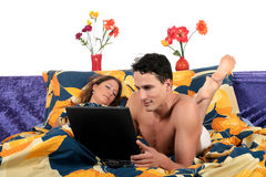 Couple, bedroom  grooming. Stock Photos