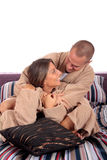 Couple, bedroom grooming Royalty Free Stock Photos