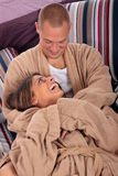 Couple, bedroom grooming Royalty Free Stock Photography