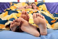 Couple, bedroom grooming Stock Photos