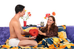 Couple, bedroom Valentine gift Royalty Free Stock Photo