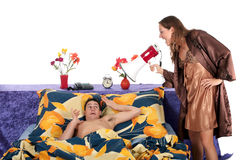 Couple, bedroom wake up call Stock Photos