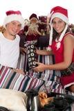 Couple bedroom Xmas morning Royalty Free Stock Photo
