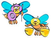 Couple bee illustration. Couple bee vector cartoon illustration Royalty Free Stock Images