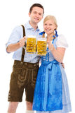 Couple with beer Stock Images