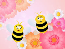 Couple of bees on flowers Stock Photos