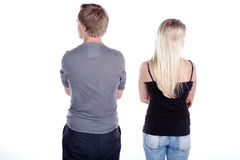 Couple from behind do not look at themselves Stock Images