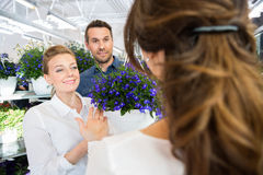 Couple Being Assisted By Florist In Buying Flower Plant Royalty Free Stock Image