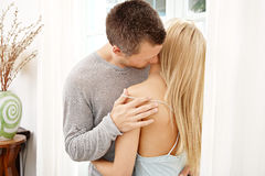 Couple being intimate at home. Royalty Free Stock Images