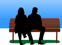 Couple on bench. Illustration of couple sitting on bench vector illustration