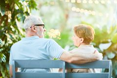 Couple on bench Royalty Free Stock Images