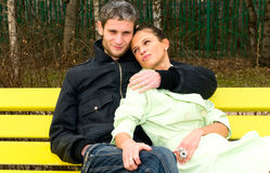 Couple on the bench Royalty Free Stock Photography