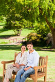 Couple on the bench Stock Photography
