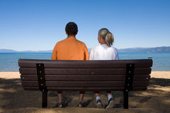 Couple on bench Stock Photos