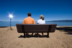 Couple on bench Royalty Free Stock Photography