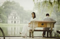 Couple on bench Stock Image