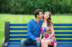 Couple on the bench Royalty Free Stock Photos