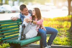 Couple on the bench Royalty Free Stock Photo