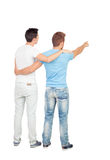 Couple of best friends pointing something Royalty Free Stock Photo