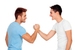 Couple of best friends shaking hands Royalty Free Stock Photography