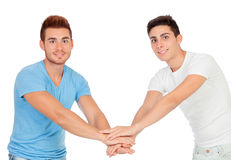 Couple of best friends shaking hands Royalty Free Stock Image