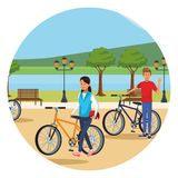 Couple in bicicles. Parkscape round icon vector illustration graphic design vector illustration