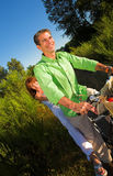 Couple on bicycle Royalty Free Stock Images