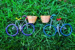 Couple bicycle with nature background stock photo