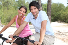 Couple on bicycle Royalty Free Stock Image