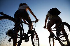 Couple on bicycles Royalty Free Stock Image