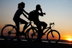 Couple on bicycles Stock Photo