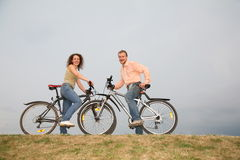 Couple on the bicycles Stock Photography