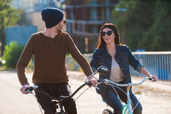 Couple on bicycles. Royalty Free Stock Photo