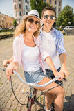 Couple with bicycles Royalty Free Stock Images