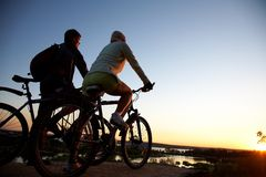 Couple of bicycles on sunset Royalty Free Stock Images