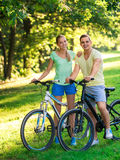 Couple on bicycles Stock Photography
