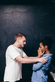 Couple big conflict, man and woman fight and anger Royalty Free Stock Images
