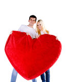 Couple with a big heart Stock Images