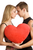 Couple with big heart Stock Photo