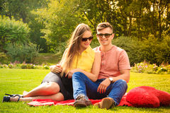 Couple with big heart on picnic Stock Photos