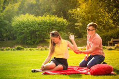 Couple with big heart on picnic Royalty Free Stock Photo
