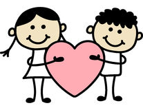 Couple with big red heart. Valentine day Royalty Free Stock Photos