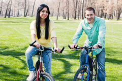 Couple on bike Stock Photo