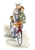 Couple on Bike. A couple are cycling on the bike, woman is sitting at the front Royalty Free Stock Image