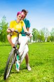 Couple on the bike Stock Photos