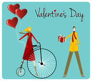 Couple with bike Valentines day greeting car Royalty Free Stock Photography